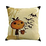 Pillow Cases,Woaills Happy Halloween Flax Sofa Cushion Cover Home Decor Pillowcases Sham Square 18 Inches (B)