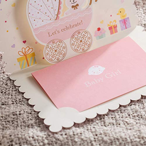 100X WISHMADE 3D Pink Baby Shower Invitation Card with Bear and Cartoon Car Design, Blank Printable Birthday Dinner Party Invites Kits for Little Girl with Envelopes CW5301 by WISHMADE (Image #7)