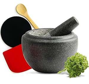 Mortar and Pestle - Premium Quality Granite - Includes FREE silicone scraper, anti-slip counter protector, wooden serving spoon