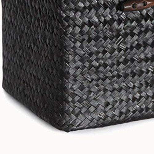 DaoRier Caja de Pa/ñuelos de Papel,Paja Square Caja de Pa/ñuelos Portapa/ñuelos de Papel para Oficina Hogar Ba/ño Coche 14CMX14CM Negro