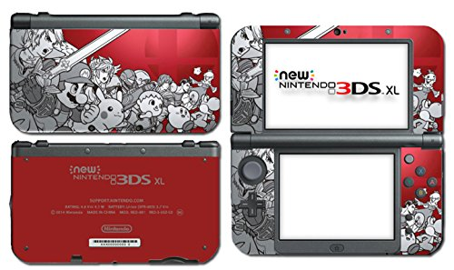 Super Smash Bros 3D Melee Brawl Mario Pikachu Link Zelda Samus Metroid Villager Crimson Red Video Game Vinyl Decal Skin Sticker Cover for the New Nintendo 3DS XL System Console (Super Mario Bros 3ds Xl)
