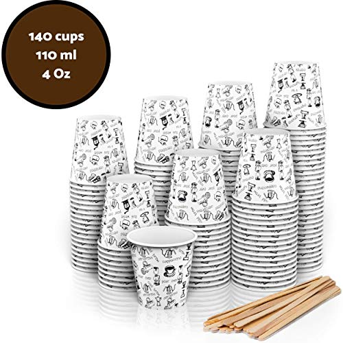 140 Vasos Cartón Desechables para Café Espresso