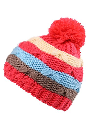 KEA KEA Kids Beanie Cable Knit Striped Hat Winter Beanie Cap, Striped 10