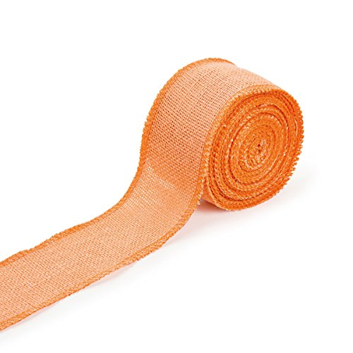 Darice 2915-22 Colored Burlap Ribbon for Fall Crafts and Decorations 2.5 inches x 10 Yards, 1 Roll Per Pack, Peach Orange -