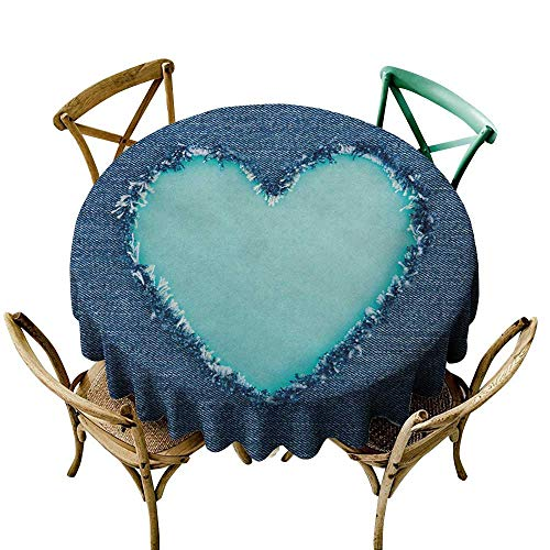 - small round tablecloth 39 inch Navy and Teal,Ripped Denim Jean Fabric Image Heart Shape Love Romance Valentines Day,Navy Blue Seafoam 100% Polyester Spillproof Tablecloths for Round Tables
