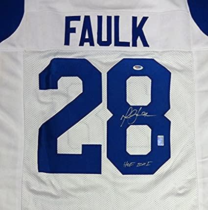 Image Unavailable. Image not available for. Color  ST. LOUIS RAMS MARSHALL  FAULK AUTOGRAPHED WHITE JERSEY quot HOF ... 1f08bfe2f