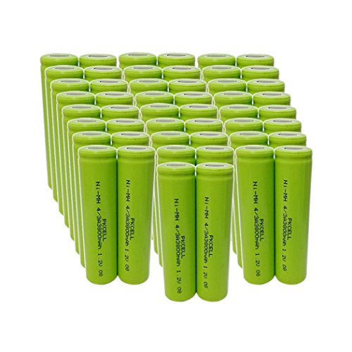 1.2v 4/3A Ni-MH Rechargeable Batteries With Flat Top 3800mAh (50pc) by PK Cell