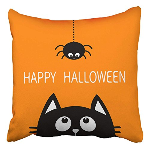 Throw Pillow Covers Happy Halloween Black Cat Face Head Silhouette Cute Cartoon Baby Pet Animal Decor Pillowcases Polyester
