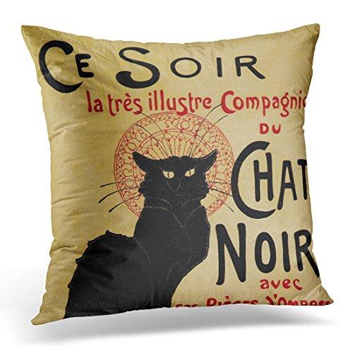 VANMI Throw Pillow Cover Retro Vintage Nouveau Ce Chat Noir Black Cat Americana Decorative Pillow Case Home Decor Square 16x16 Inches Pillowcase