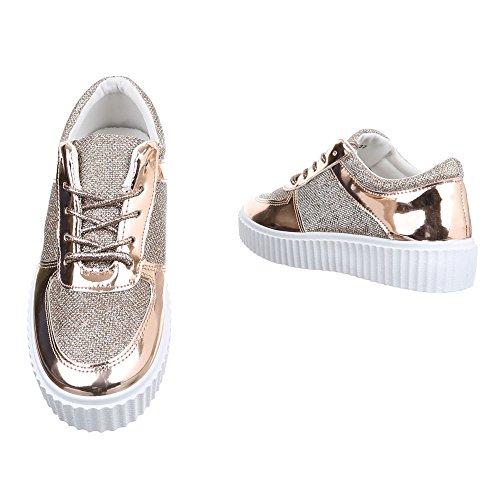Ital Design altas dorado Mujer Zapatillas TTqwr0g