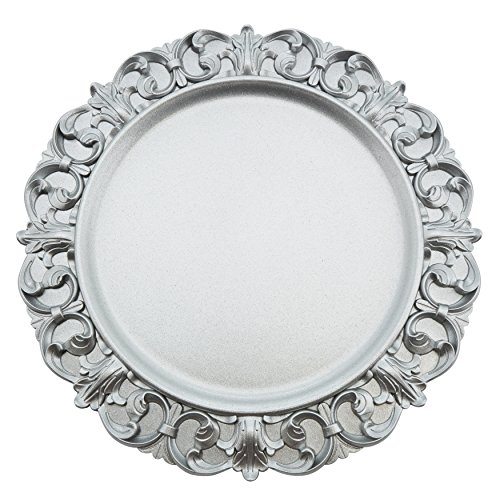 Fennco Styles Baroque Scroll Border Design Charger Plate - set of 4