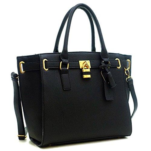 Dasein Buffalo Faux Leather Belted Medium Padlock Briefcase Satchel Tote Shouler Bag Handbag - Black