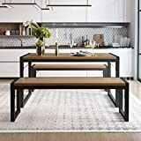 Amolife 3-Piece Modern Industrial Soho Dining Table Set, Metal Frame and MDF Board Dining/Kitchen Table with Benches, Space-Saving Furniture