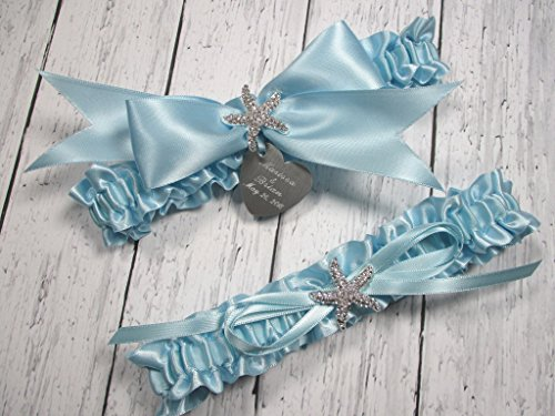 Beach Wedding Garter Set in Light Blue with Rhinestone Starfish and Personalized Engraving ()