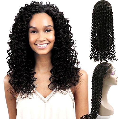 DealMux profunda Curly 32 Humano Perucas Lace Frente Glueless brasileira Virgem Cabelo w / cabelo do beb 130% Densidade Nature Hairline Livre Parte mo amarrada Swiss Lace