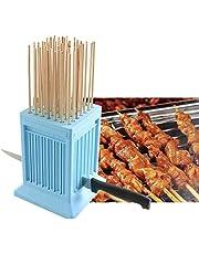 Kebab Maker,49 Holes BBQ Meat Skewer Box, Tofu Skewer Tools Detachable with 50pcs Stainless Steel Sticks for Beef Skewer Kebab,Tofu Skewers (Blue)