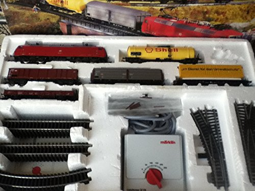 MARKLIN HO Delta Starter Set 29835 with Electric Locomotive DB Class 120 + 5 Long Freight Cars + Oval with SWITCHES + Transformer with Manuals and Catalog.