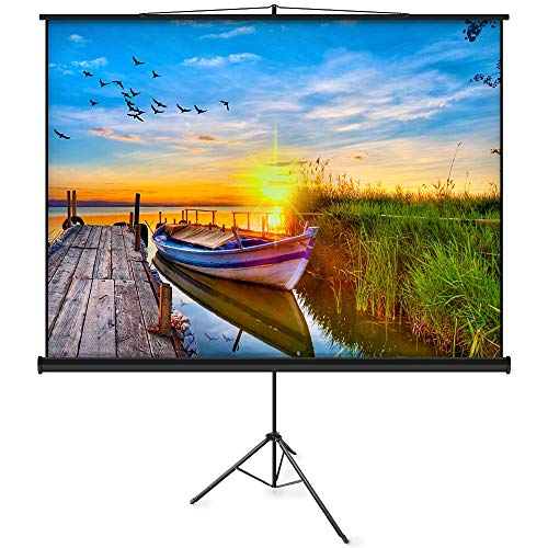 (JaeilPLM 100-inch Portable Indoor Projector Screen with Tripod Stand, 4:3 4K HD Pull Down Screen with Foldable Adjustable Tripod for Home Theater, Office, School and Gaming (TT100))
