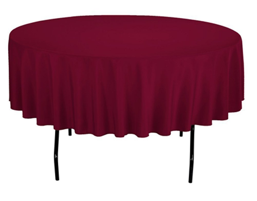 "TEKTRUM 90 INCH ROUND POLYESTER TABLECLOTH - THICK/HEAVY DUTY/DURABLE FABRIC (Burgundy) - Fold over hemmed edges; instant setup - no clips or fasteners needed Tablecloth size 90"" diameter; seamless one-piece design Made of premium quality polyester fabric - extra durable - tablecloths, kitchen-dining-room-table-linens, kitchen-dining-room - 51eOZcEv1ML -"