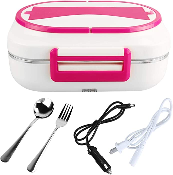 LOHOME Electric Heating Lunch Box -#Christmas Gifts# Car Home Office Use Food Warmer Portable Bento Meal Heater with Stainless Steel Container 110V and 12V Dual Use (Red)