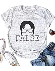 MNLYBABY Womens The Office Letter Print T-Shirt Dwight Silhouette False Short Sleeve Tops Graphic Tee Shirts
