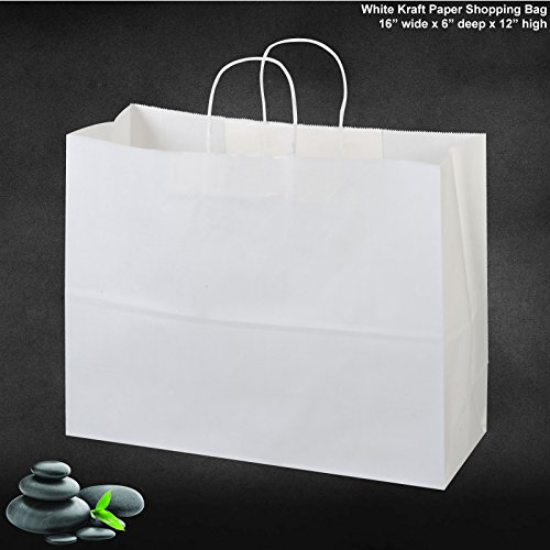 Kraft Twisted Paper - 50 Paper Retail Shopping Bags WHITE with Rope Handles 16x6x12