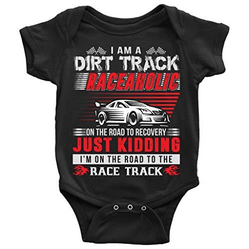 Dirt Track Raceaholic Baby Bodysuit, On The Road Baby Bodysuit (12M, Baby Bodysuit - Black)
