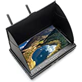 Apleye FPV Monitor LCD with DVR 5.8G 40CH 7 Inch OSD Wireless Dual Receiver with Integrated Battery