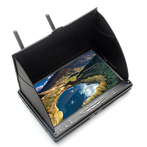 Apleye FPV Monitor LCD with DVR 5.8G 40CH 7 Inch OSD Wireless Dual Receiver with Integrated Battery (Dvr Monitor)