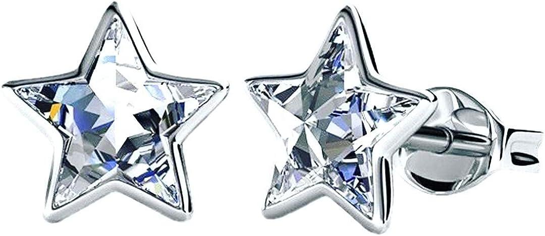 Pendientes de plata con cristales de Swarovski chapados en rodio para mujer o niña.