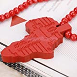 Red Hip-Hop Wooden African Map Pendant Wood Bead Rosary Pendant Necklace Chain