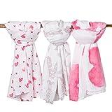 Premium Organic Cotton Muslin Baby Swaddle Blankets in 3 Beautiful Prints, ...