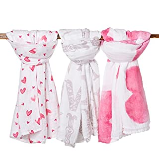 frankie&bella Organic Cotton Muslin Baby Blankets for Girl or Boy - Packaged in Unique Gift Box - Large size – 3 Beautiful Prints - Super Soft Lightweight Swaddles - Perfect for any Baby Shower