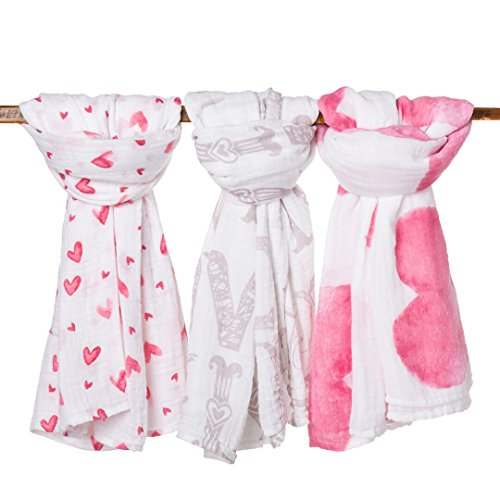 frankie&bella Organic Cotton Muslin Baby Blankets for Girl or Boy - Packaged in Unique Gift Box - Large size - 3 Beautiful Prints - Super Soft Lightweight Swaddles - Perfect for any Baby Shower ()