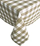 Newbridge Buffalo Check Indoor/Outdoor Cotton Tablecloth - Cottage Style Gingham Check Pattern Tablecloth - 60 x 84 Oblong/Rectangular, Taupe