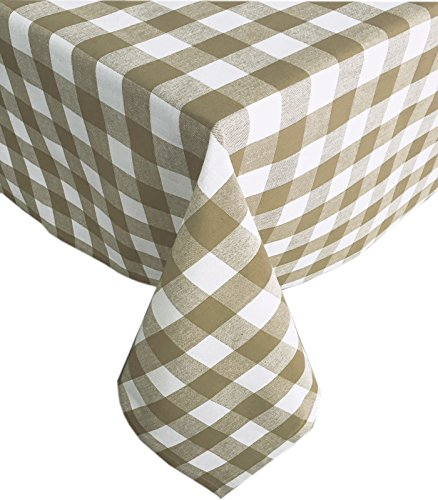 Newbridge Buffalo Check Indoor/Outdoor Cotton Tablecloth - Cottage Style Gingham Check Pattern Tablecloth - 60 x 84 Oblong/Rectangular, Taupe -