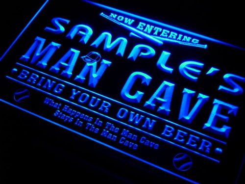 qb1078-g Wood's Man Cave Baseball Bar Neon Beer Sign