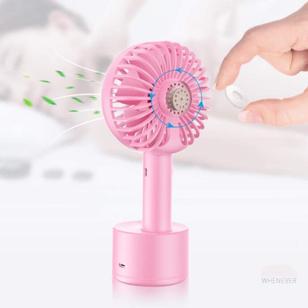 Color : Blue MXD Can be Rotated Around 120 /° Hand-held Fan USB Charging Can Put Aromatherapy Tablets