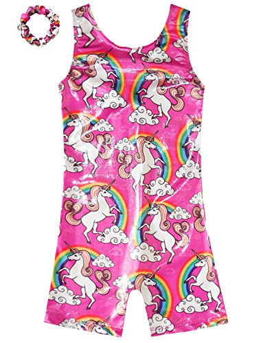 Gymnastics Leotards For Girls Unicorn Sparkly Pink Cute Kids One Piece Outfits