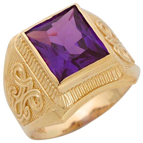 Jewelry Liquidation 10k Yellow Gold Simulated Alexandrite June Birthstone Mens Wide Ring
