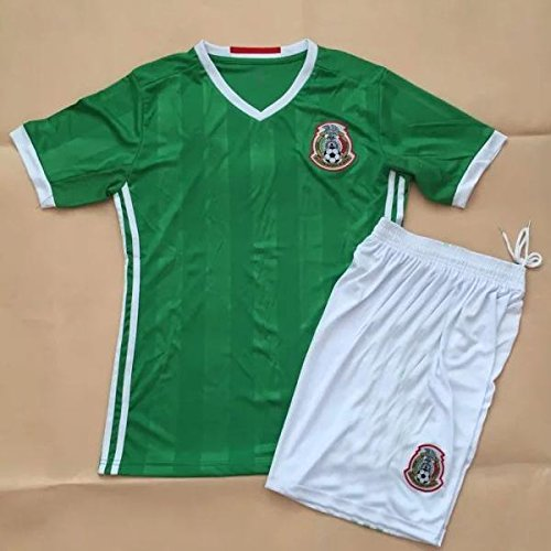 2016 Chicharito #14 Mexico Home Kids Soccer Jersey & Short Kit Set (Mexico Home Jersey)