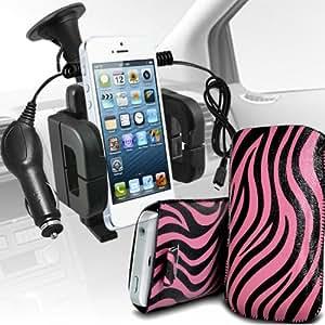 Nokia Lumia 710 Protección Premium de Zebra PU tracción Piel Tab Slip In Pouch Pocket Cordón piel cubierta Con Quick 12v Micro USB cargador de coche y soporte universal de la succión del parabrisas del coche Vent Cuna Rosa y Negro por Spyrox