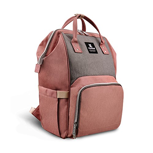 Abear Diaper Bag Backpack Waterproof Large Capacity Insulation Travel Back Pack Nappy Bags Organizer, Multi-Function, Fashion and Durable (Pink-Gray)