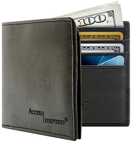 Access Denied Mens RFID Blocking Wallet Secure Bi-Fold Black Faux Leather-Black
