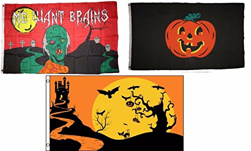 ALBATROS 3 ft x 5 ft Happy Halloween 3 Pack Flag Set #171 Combo Banner Grommets for Home and Parades, Official Party, All Weather Indoors Outdoors