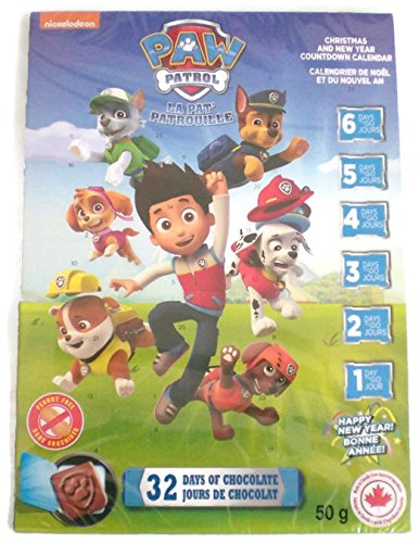 Paw Patrol Christmas/New Year Countdown Chocolate Advent Calendar With 32 Milk Chocolates 50g Regal Candy