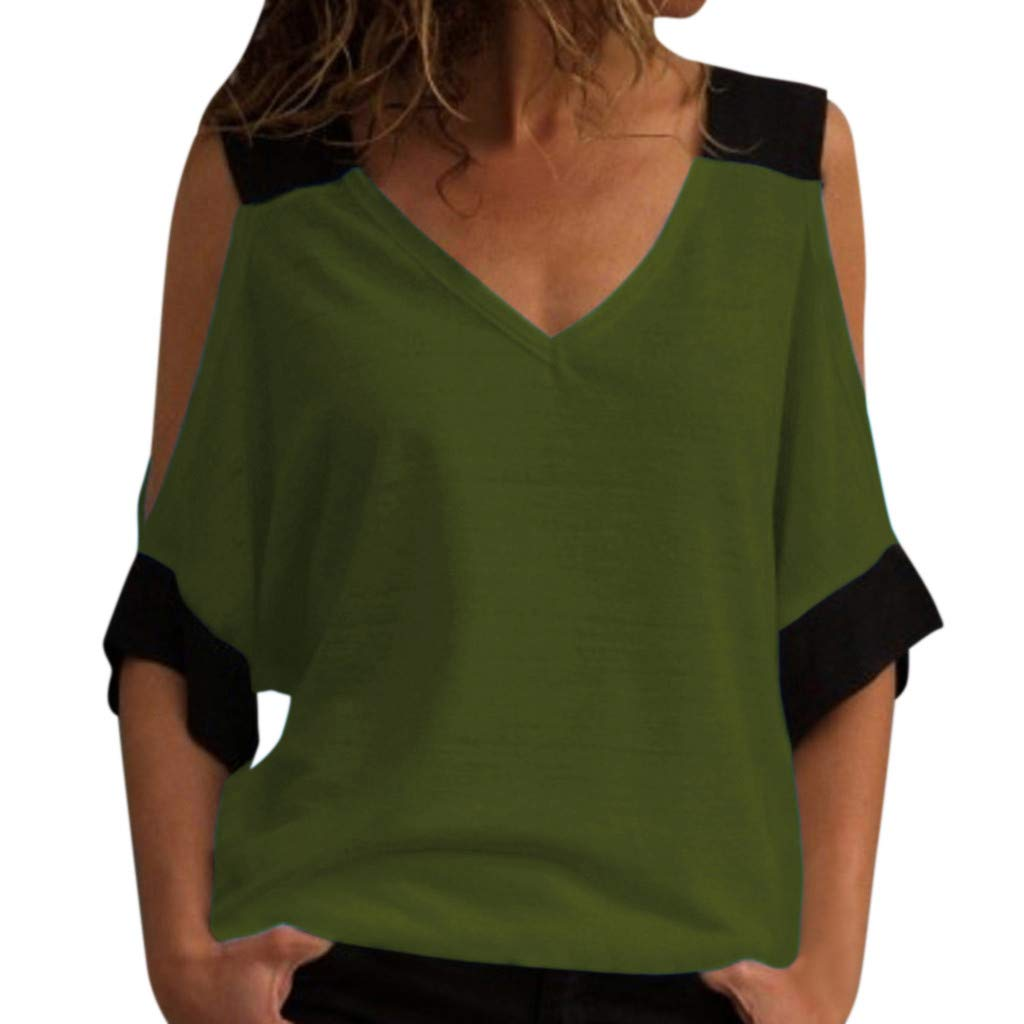 Womens Top !Womens Stitching Off-Shoulder V-Neck Top Shirt Blouse By Charberry