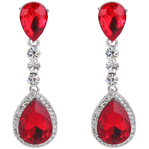 BriLove Silver-Tone Dangle Earrings Women's Wedding Bridal Crystal Teardrop Infinity Figure 8 Chandelier Earrings Ruby Color ()
