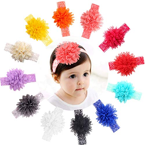 12 Pieces Baby Girl Headbands Big Lace Flower Lace Headbands for Newborns Infants Toddlers