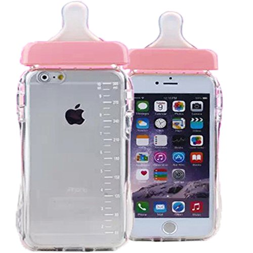 WwwSuppliers Cute 3D Baby Shower Pregnant Milk Bottle Pacifier Case Crystal Clear Classy Elegant Fashion Silicone Rubber Lanyard Cover Screen Protector and Lanyard Strap (Apple iPhone 6 6S Pink)